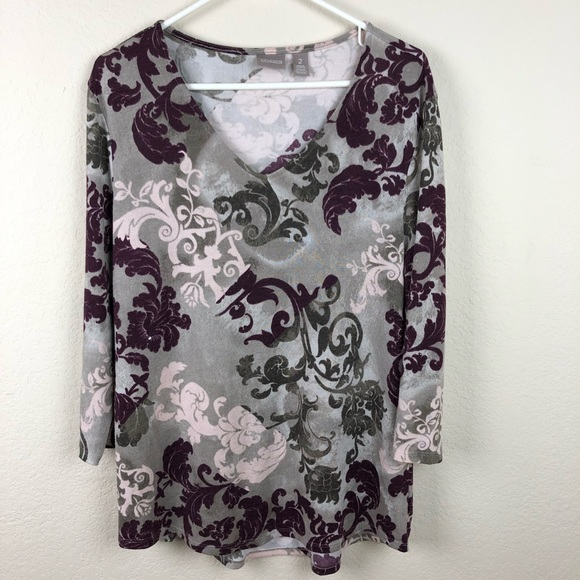 f5ebb39d6b6 Chico's Tops | Chicos Fleurdelis Pattered Light Sweater Fabric ...
